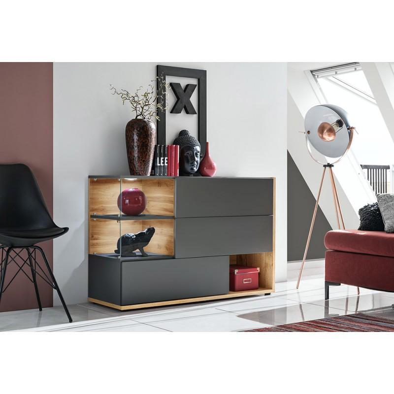 Buffet, bahut, enfilade KLIS trois portes et trois niches. Coloris gris anthracite et chêne. Style design.
