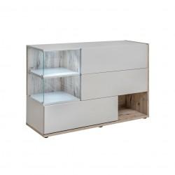 Buffet, bahut, enfilade KLIS trois portes et trois niches. Coloris gris perle et chêne. Style design.