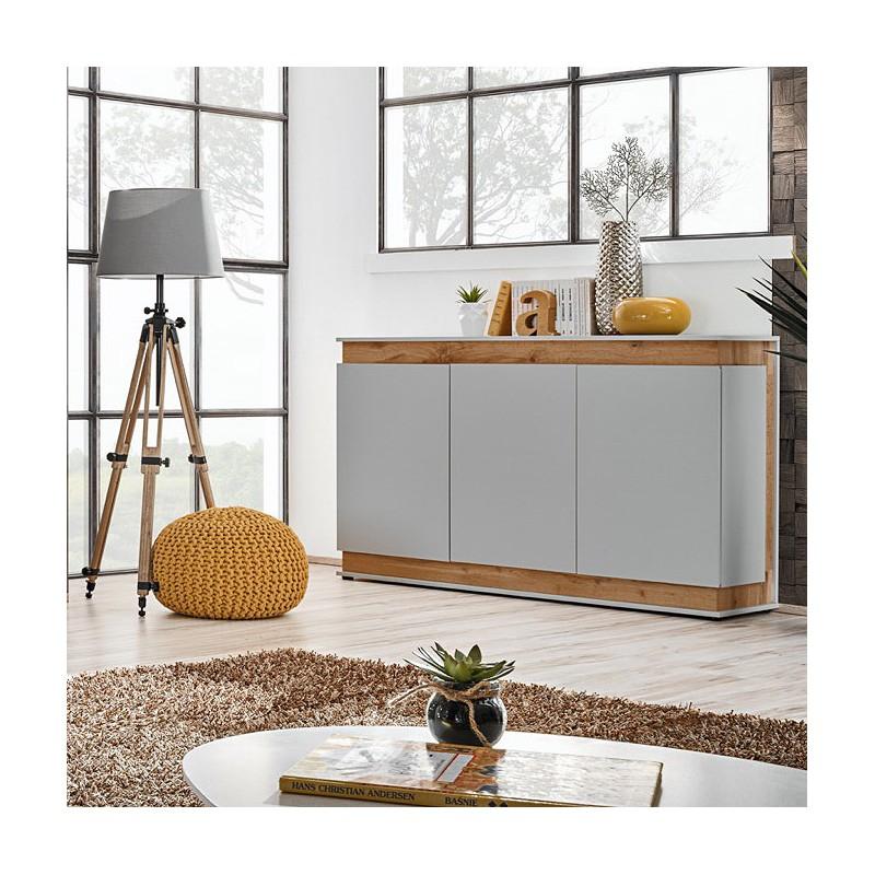Buffet, bahut, enfilade MUNICH trois portes. Coloris gris perle et chêne. Style design.