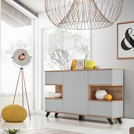 Buffet, bahut, enfilade CORDOBA cinq portes. Coloris gris et chêne. Style design.