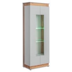 Vitrine, bibliothèque, vaisselier MUNICH modèle haut + LED. Meuble design idéal pour votre salle à manger