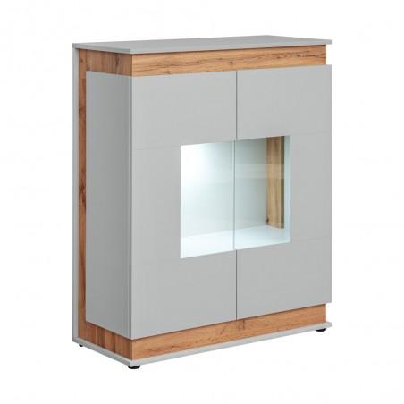 Vaisselier, bibliothèque, vitrine MUNICH modèle bas + LED. Meuble design idéal pour votre salle à manger