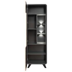 Vitrine, bibliothèque, vaisselier OASIS modèle haut + LED. Coloris gris et bois. Meuble design idéal pour votre salle à manger