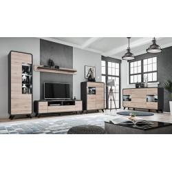 Vaisselier bas collection OASIS avec lumière LED intégrée. Coloris gris anthracite et bois. Meuble design idéal pour votre salle