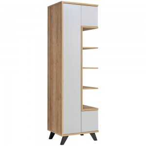Vitrine, bibliothèque, vaisselier CORDOBA modèle haut de gamme. Coloris gris perle et bois. Meuble design idéal pour votre salle