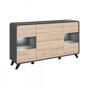 Buffet, bahut, enfilade OASIS 4 portes et  4 tiroirs. Coloris gris et chêne. Style design.