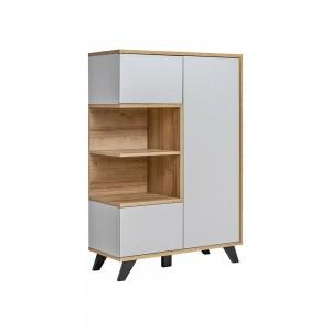 Vitrine basse collection CORDOBA 3 portes avec 2 niches apparentes. Coloris gris et bois. Meuble design