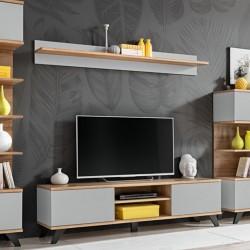 Étagère murale design CORDOBA, 160 cm, design et moderne, coloris gris clair et chêne