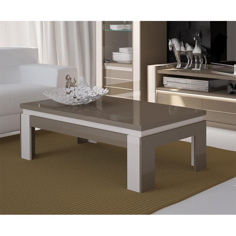 Table basse design brillante LINA cappuccino et blanc crème
