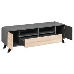Meuble TV 160 Collection OASIS. Nombreux rangements. Coloris gris anthracite et bois. Style design.