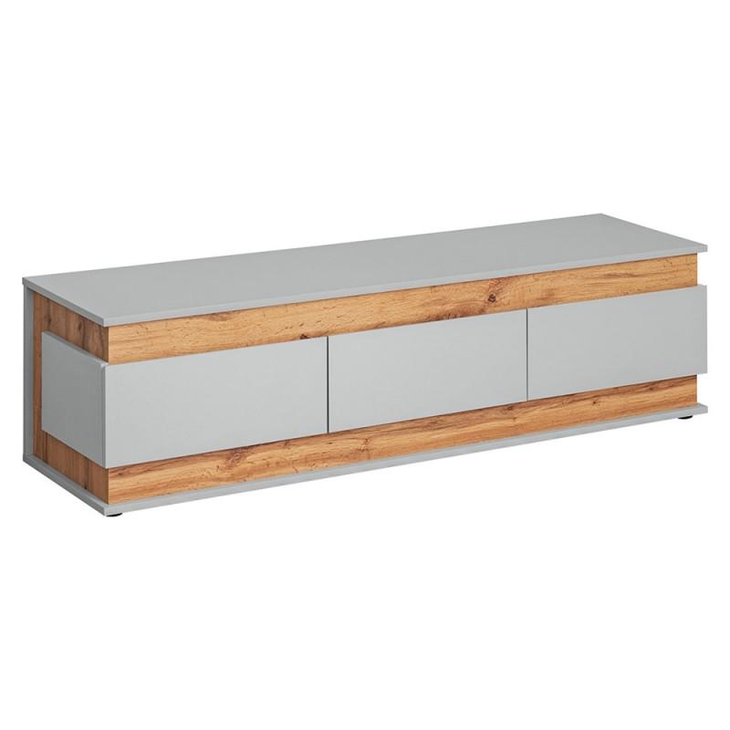 Meuble TV 150 avec 3 tiroirs Collection MUNICH. Coloris gris et bois. Style design.