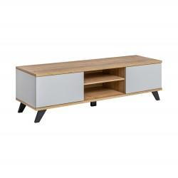 Meuble TV 160 Collection CORDOBA. 2 niches et 2 tiroirs. Coloris chêne et gris. Style design.