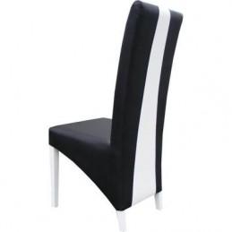 Table 180 cm + 6 chaises LINA. Table pour salle à manger noire et blanche  brillante avec 6 chaises simili cuir. Design moderne