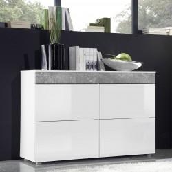 Buffet, bahut 4 portes. Collection SLITE. Coloris blanc et finitions effet pierre. Style design.