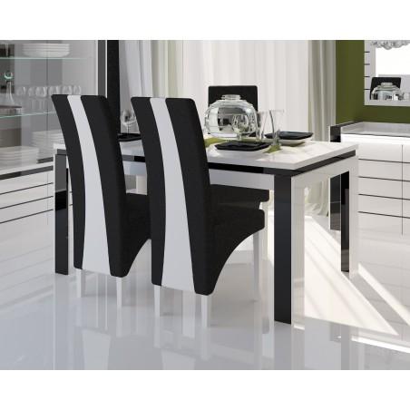 Table 160 cm + 6 chaises LINA. Table pour salle à manger brillante blanche et noire avec 6 chaises simili cuir. Meubles design