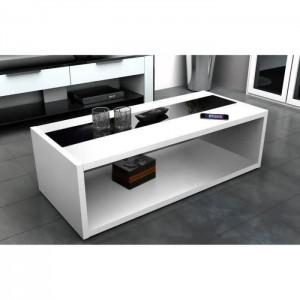 Table basse DANN style contemporain blanc et noir brillant - L 116 x l 51 cm