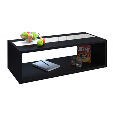 Table basse DANN style contemporain noir avec bandeau vitré - L 116 x l 51 cm