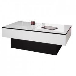 Table basse AMELY coloris Blanc brillant et Noir - L 113 x P 60 x H 40 cm