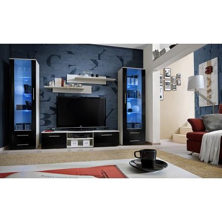 Ensemble de meuble de salon GALINO C, coloris blanc et noir brillant. Meuble moderne et tendance pour votre salon.