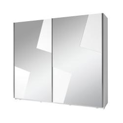 Armoire de la collection FULMO, 2 portes coulissantes, 2 mètres, coloris blanc et finitions gris béton.