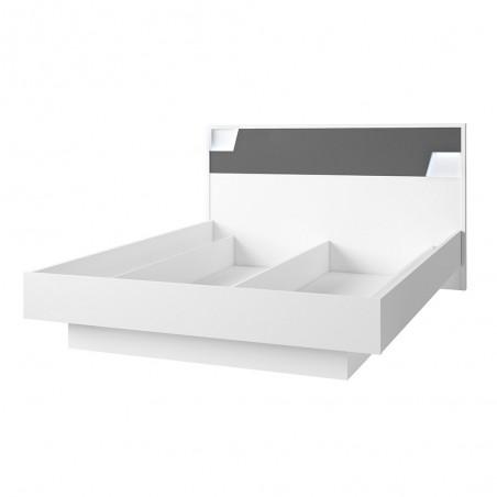 Lit 160X200 avec coffre de la collection FULMO. coloris blanc et finitions gris béton.
