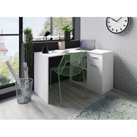 Bureau d'angle pour ado ou enfant. Bureau BILAN coloris blanc style contemporain.