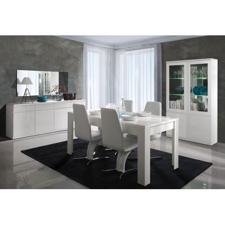 Table pour salle à manger FABIO. Dimensions 160 cm. Coloris Blanc.