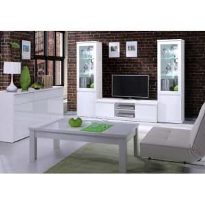 Table basse collection FABIO. Meuble type Design coloris blanc. Effet ultra tendance pour votre salon.