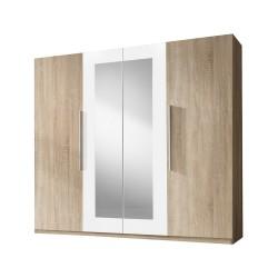 Armoire 4 portes avec miroirs couleur chêne et blanc - IRINA
