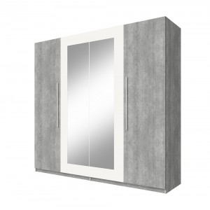 Armoire 4 portes avec miroirs couleur gris foncé et blanc - IRINA
