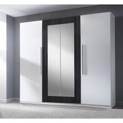 Armoire 4 portes avec miroirs couleur blanc et noyer noir - IRINA