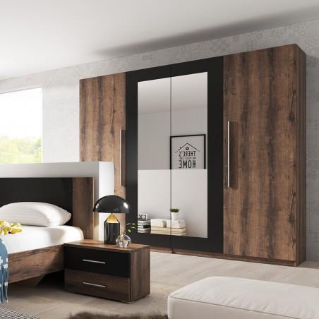 Armoire 4 portes avec miroirs couleur chêne foncé et noir - IRINA