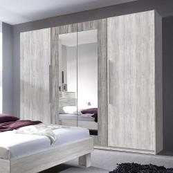 Armoire 4 portes avec miroirs couleur gris clair et gris foncé - IRINA