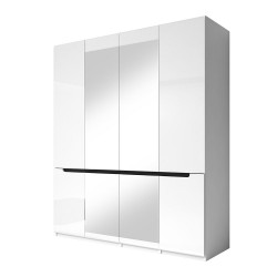 Armoire design 4 portes et  2 miroirs couleur blanche finitions glossy - LUCIA