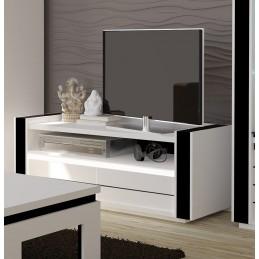 Meuble tv LINA blanc et noir brillant + LED