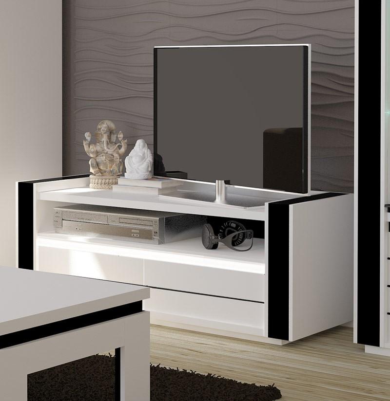 Salon meuble tv lina blanc et noir brillant led for Meuble salon noir et blanc