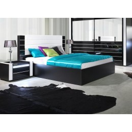 Lit adulte design LINA noir et blanc brillant + tête de lit en simili cuir