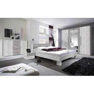 Commode 2 portes et 4 tiroirs 130cm. Collection IRINA imitation bois gris clair et gris foncé.