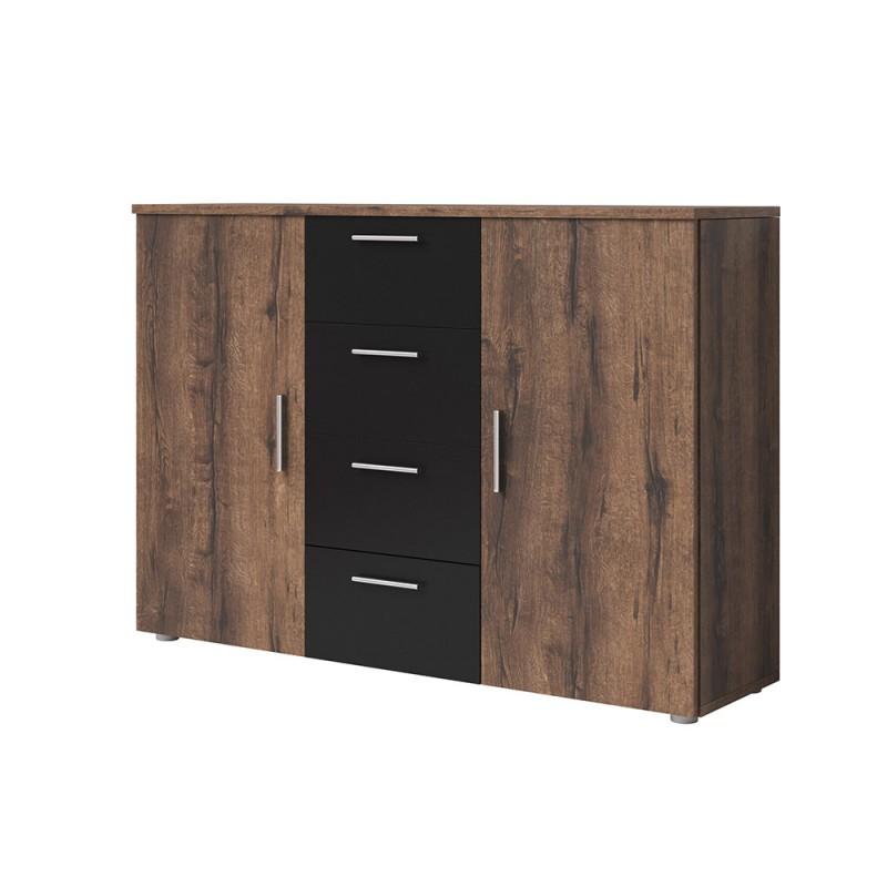Commode 2 portes et 4 tiroirs 130cm. Collection IRINA imitation chêne foncé et noir.