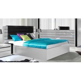 Lit adulte design LINA blanc et noir brillant + tête de lit en simili cuir