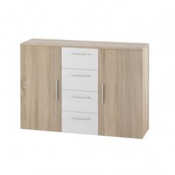 Commode 2 portes et 4 tiroirs 130cm. Collection IRINA imitation chêne clair et blanc.