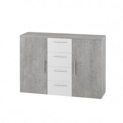 Lit adulte 180x200 collection IRINA. Chevets intégrés. Coloris gris foncé et blanc