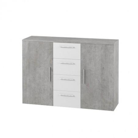 Commode 2 portes et 4 tiroirs 130cm. Collection IRINA imitation bois gris foncé et blanc.