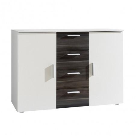 Commode design 2 portes et 4 tiroirs 130cm. Collection IRINA coloris blanc et noyer foncé.