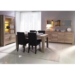 Vitrine, argentier, vaisselier FARRA 4 portes + LED. Meuble contemporain idéal pour votre salon ou salle à manger.