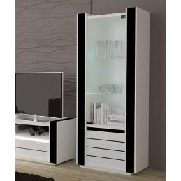Vitrine petit modèle LINA blanche et noire brillante avec LED