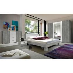 Ensemble pour chambre Irina imitation bois gris foncé et blanc : Lit 160x200 cm + armoire + commode + chevets.