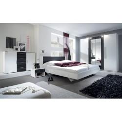 Ensemble pour chambre Irina coloris blanc et noyer foncé : Lit 160x200 cm + armoire + commode + chevets.