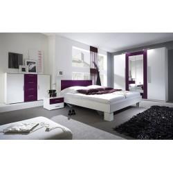 Ensemble pour chambre Irina couleur blanc et lilas : Lit 160x200 cm + armoire + commode + chevets.