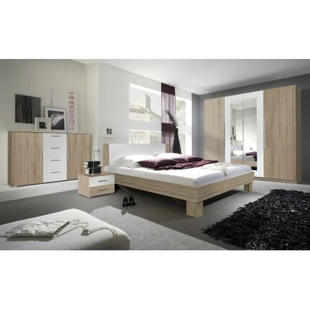 Chambre complète Irina couleur chêne et blanc : Lit 180x200 cm + armoire + commode + chevets.